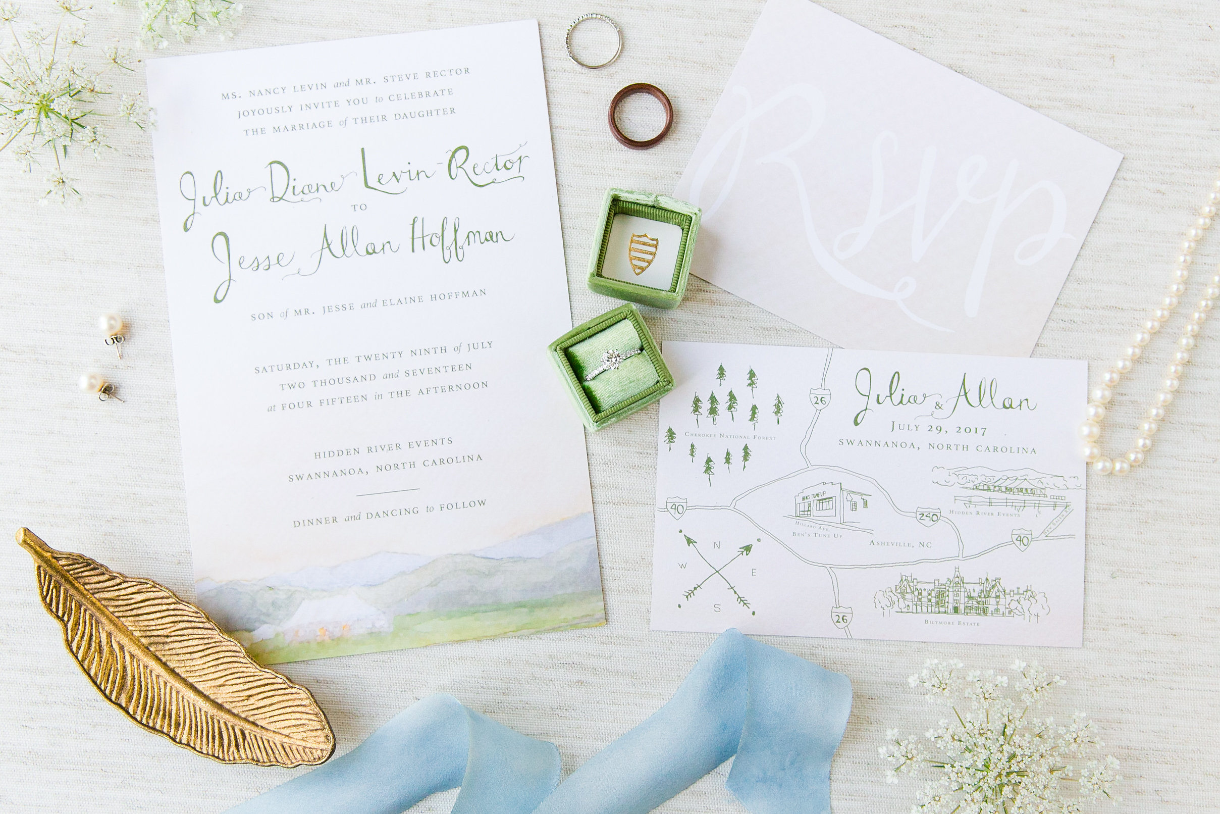 Bespoke Hidden River Events Watercolor Wedding Stationery Collection, 2017. Photo by  Dana Cubbage Weddings.