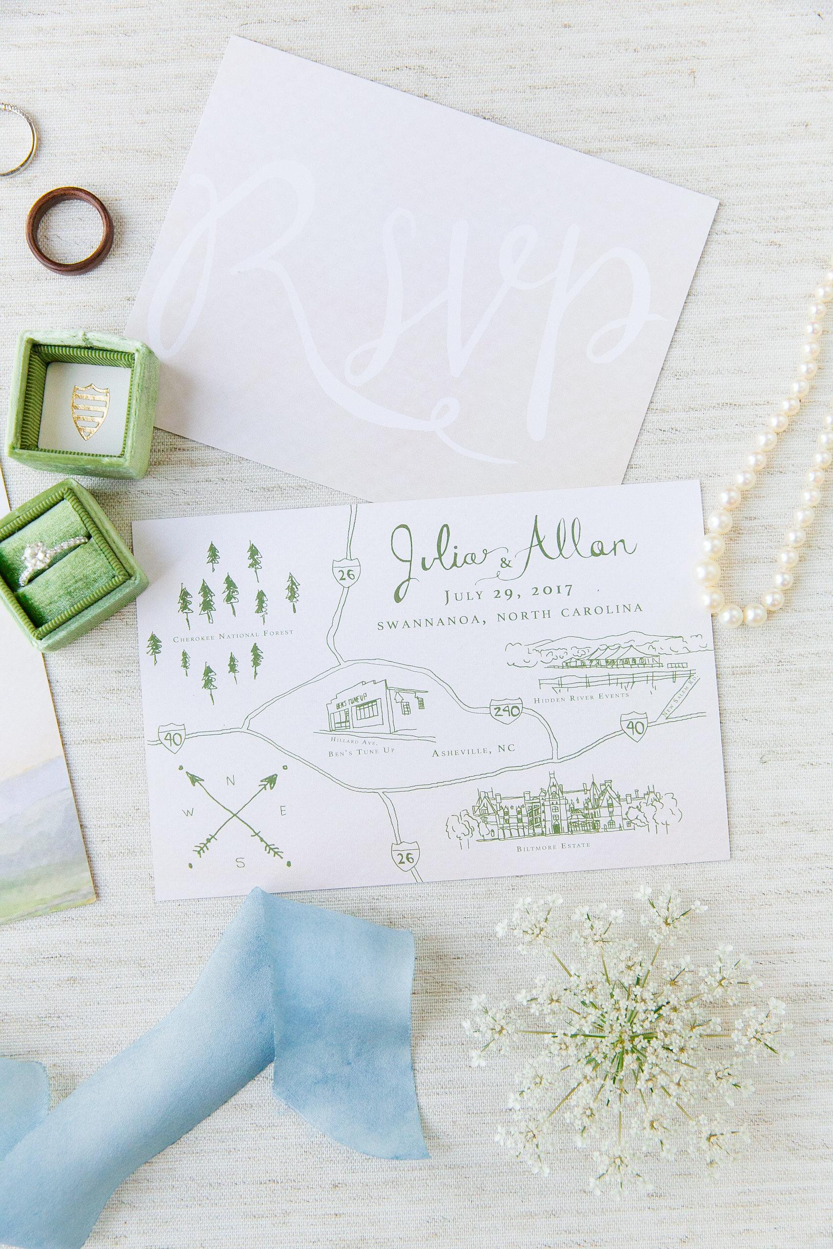 Custom Asheville, North Carolina Wedding Map, 2017.  Photo by Dana Cubbage Weddings .