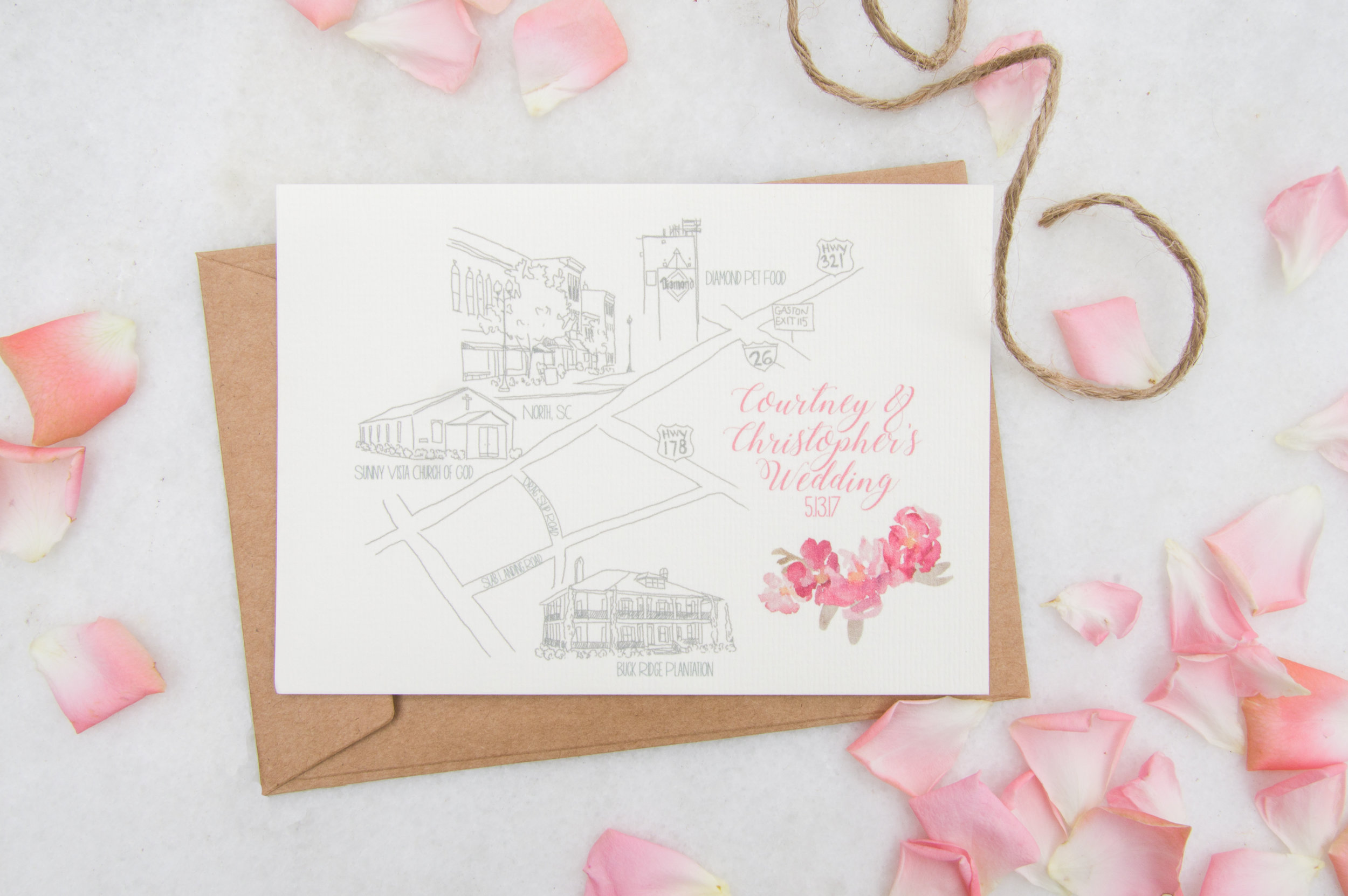 North Carolina Custom Wedding Map, 2017.