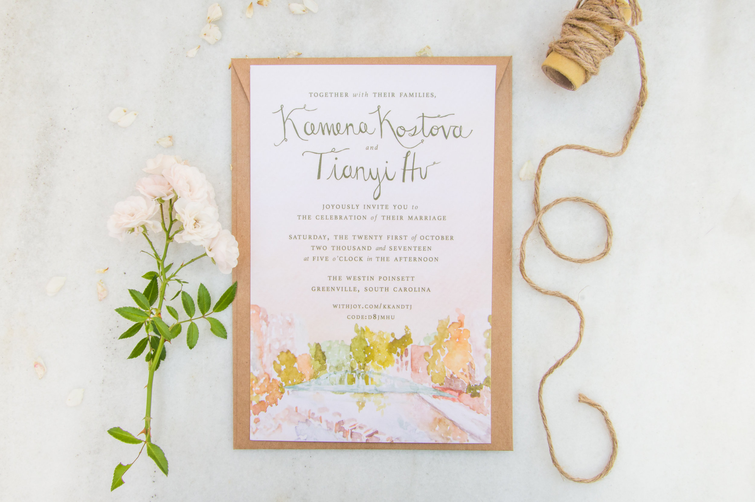 Greenville, South Carolina Bespoke Watercolor Wedding Invitation, 2017.