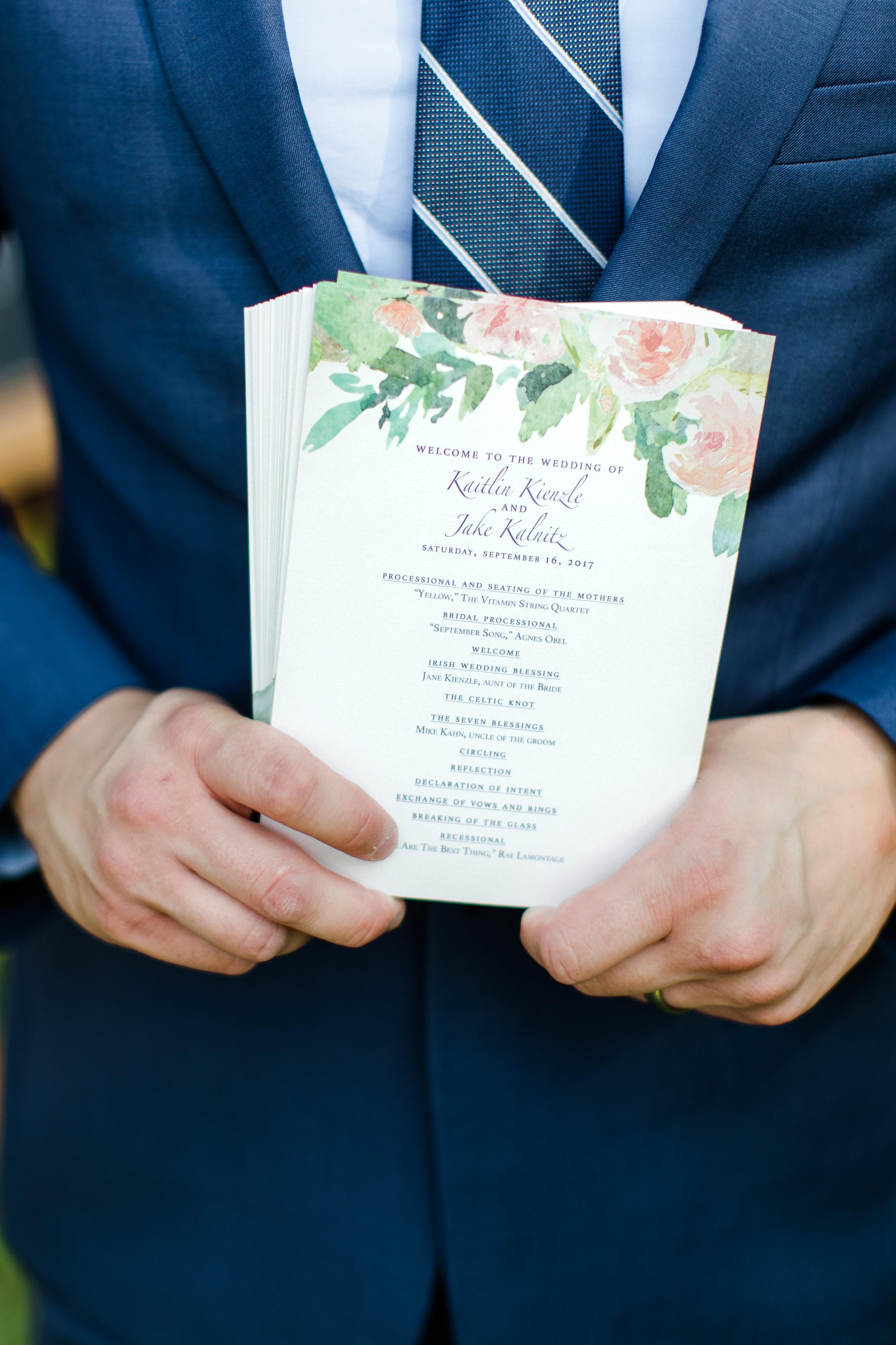 Bespoke 12 Corners Vineyard Wedding Program in Watercolor, Michigan. 2017. Photo by  Rebekah Albaugh .