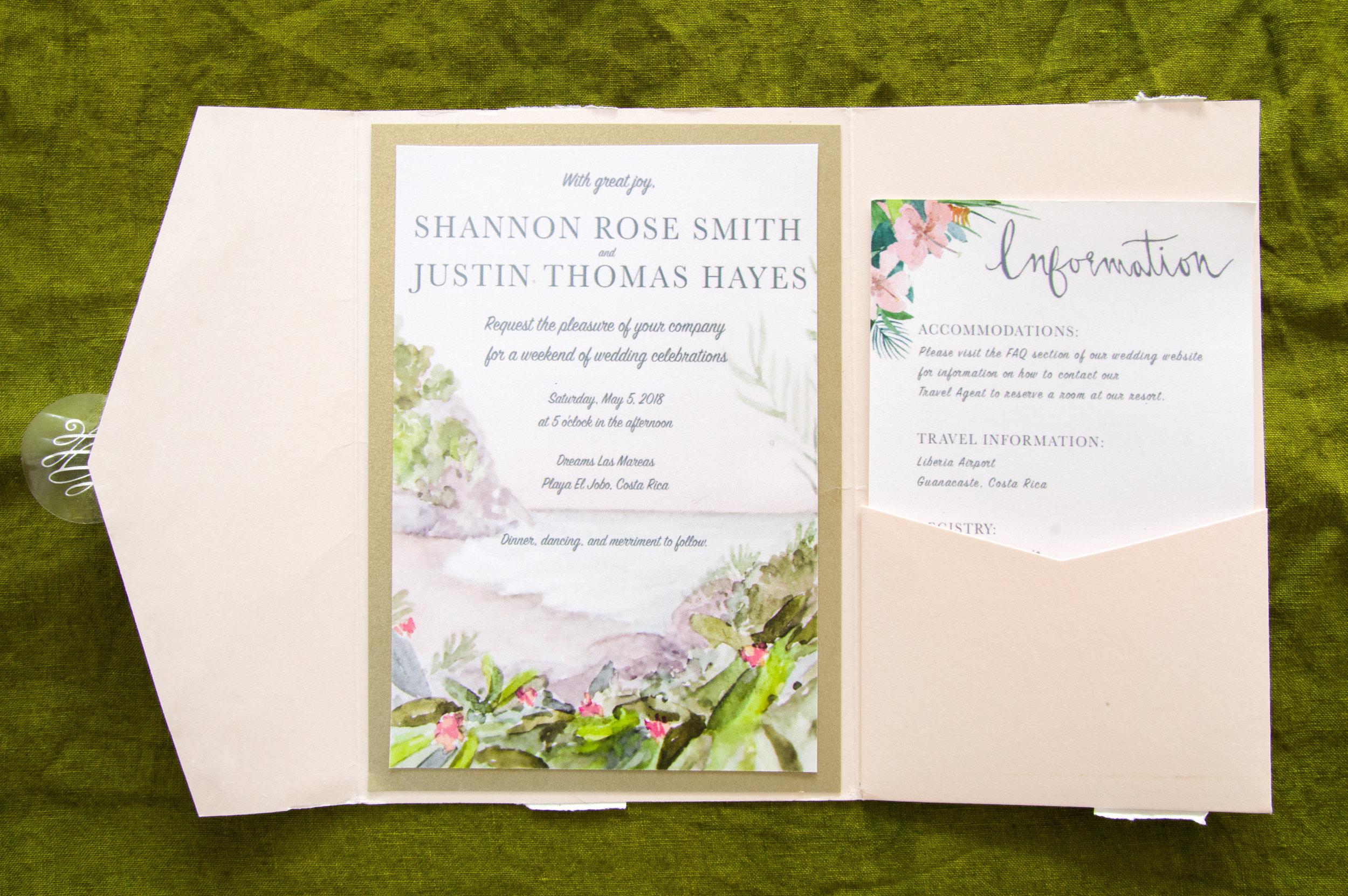 Dreams Las Mareas Custom Watercolor Wedding Invitation.Playa El Jobo, Costa Rica, 2017.