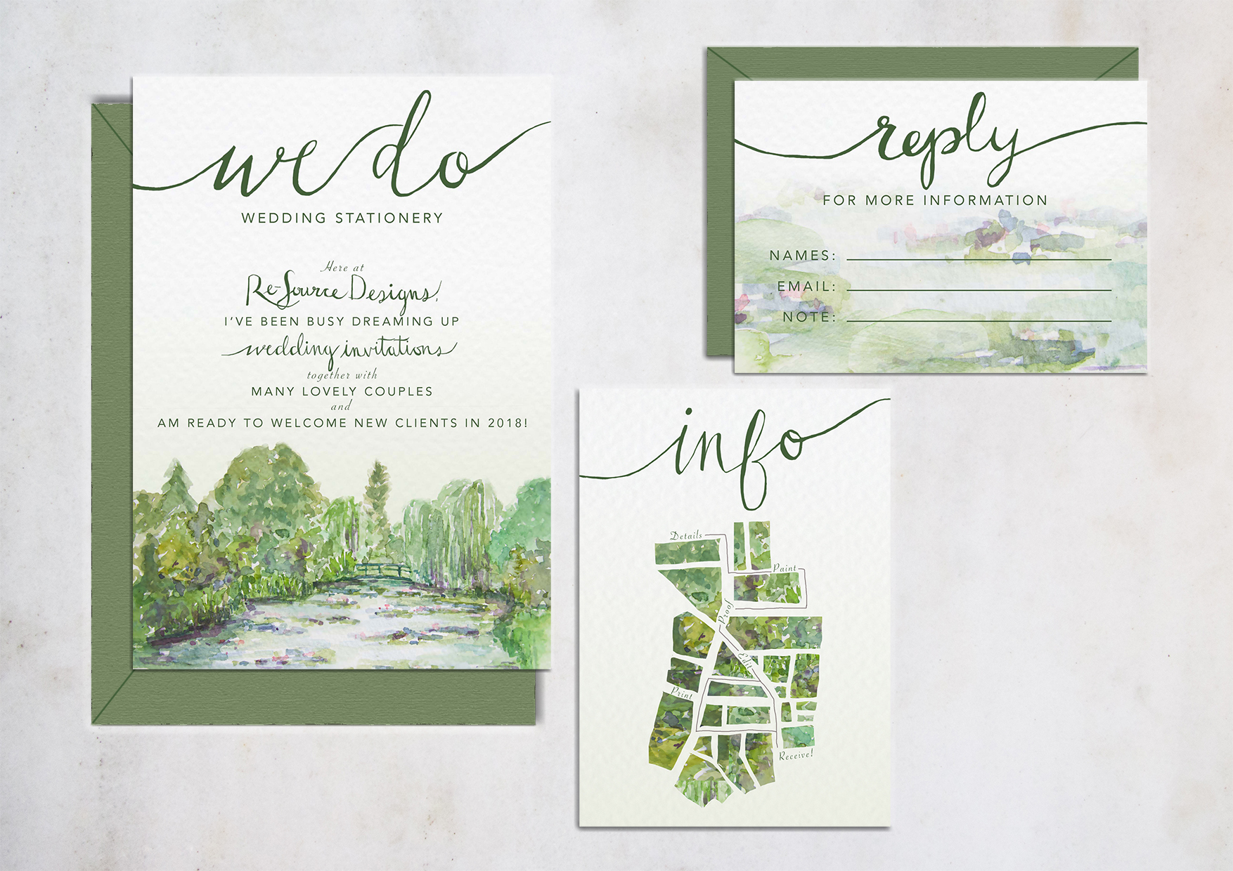 Monet's water lilly-inspired Wedding Invitation Collection. 2018.
