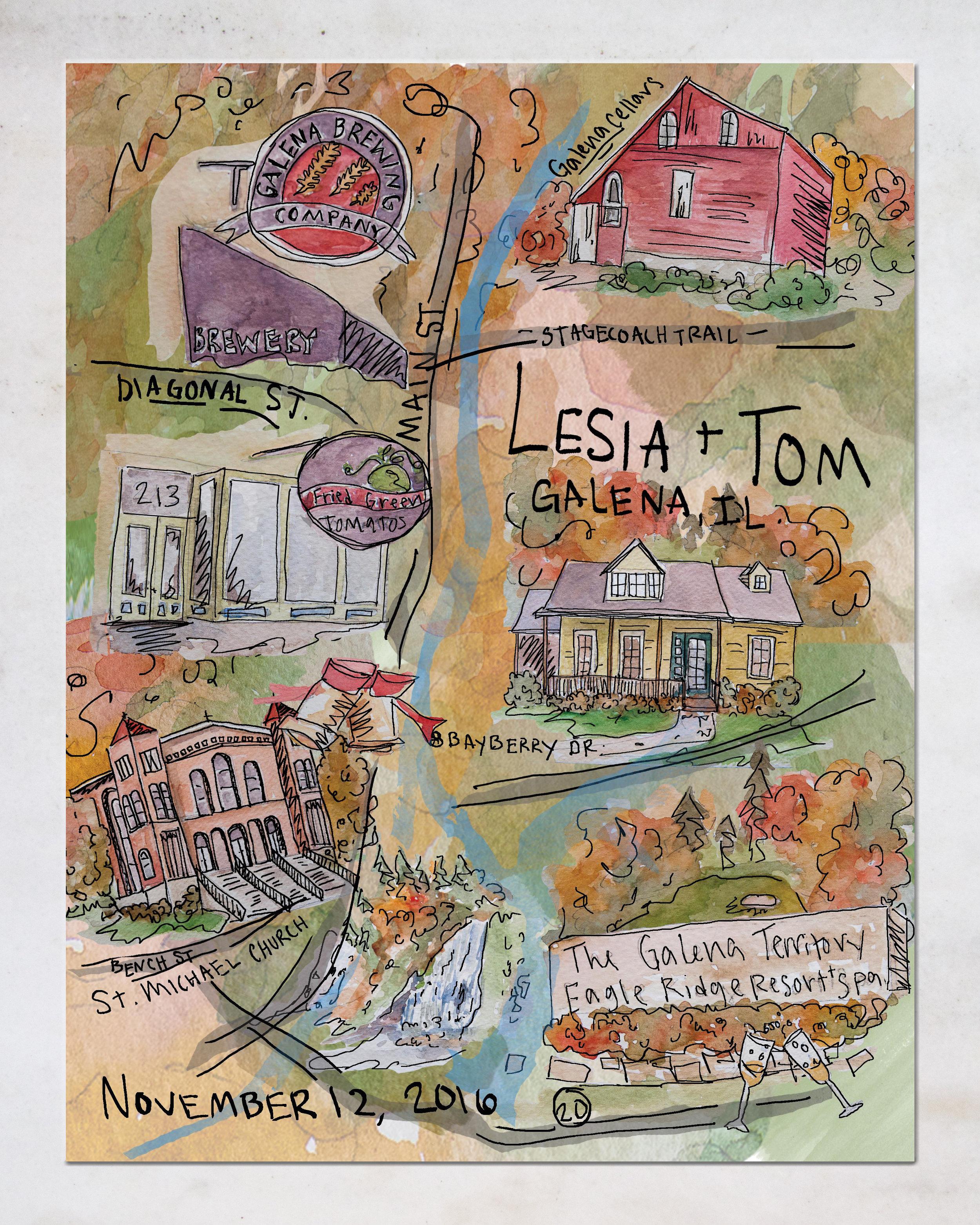 Galena, Illinois Bespoke Wedding Map, 2016.