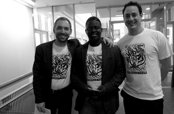 After the premiere of Amidou & Toya at Lycee Français de New York May 2014. Benoit Le Devedec, Bassirou Kaba & Yacine Boulares