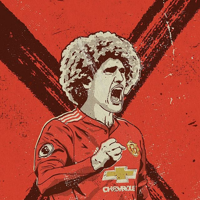 This man came up with the goods for United last night (minus the hair) and now both Manchester clubs are through to the last 16! Illustration by @gavinparkerart - Grab your copy of @seasonannual 2017/2018 via our online shop. (Link in bio) Re-live all the action from last season - every game, every goal, all the best moments and all the best stats, beautifully illustrated. - #season #seasonannual #football #soccer #annual #premierleague #premier #league #amazing #original #illustration #design #graphic #graphicdesign #instagood #follow #photooftheday #magazine #book #availablenow #mourinho #manunited #manchesterunited #mufc #fellaini #youngboys #championsleague