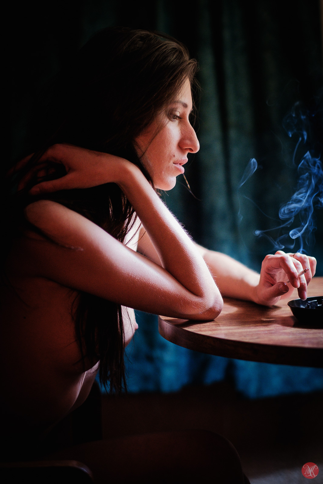 Kate Snig model woman portrait smoking nude