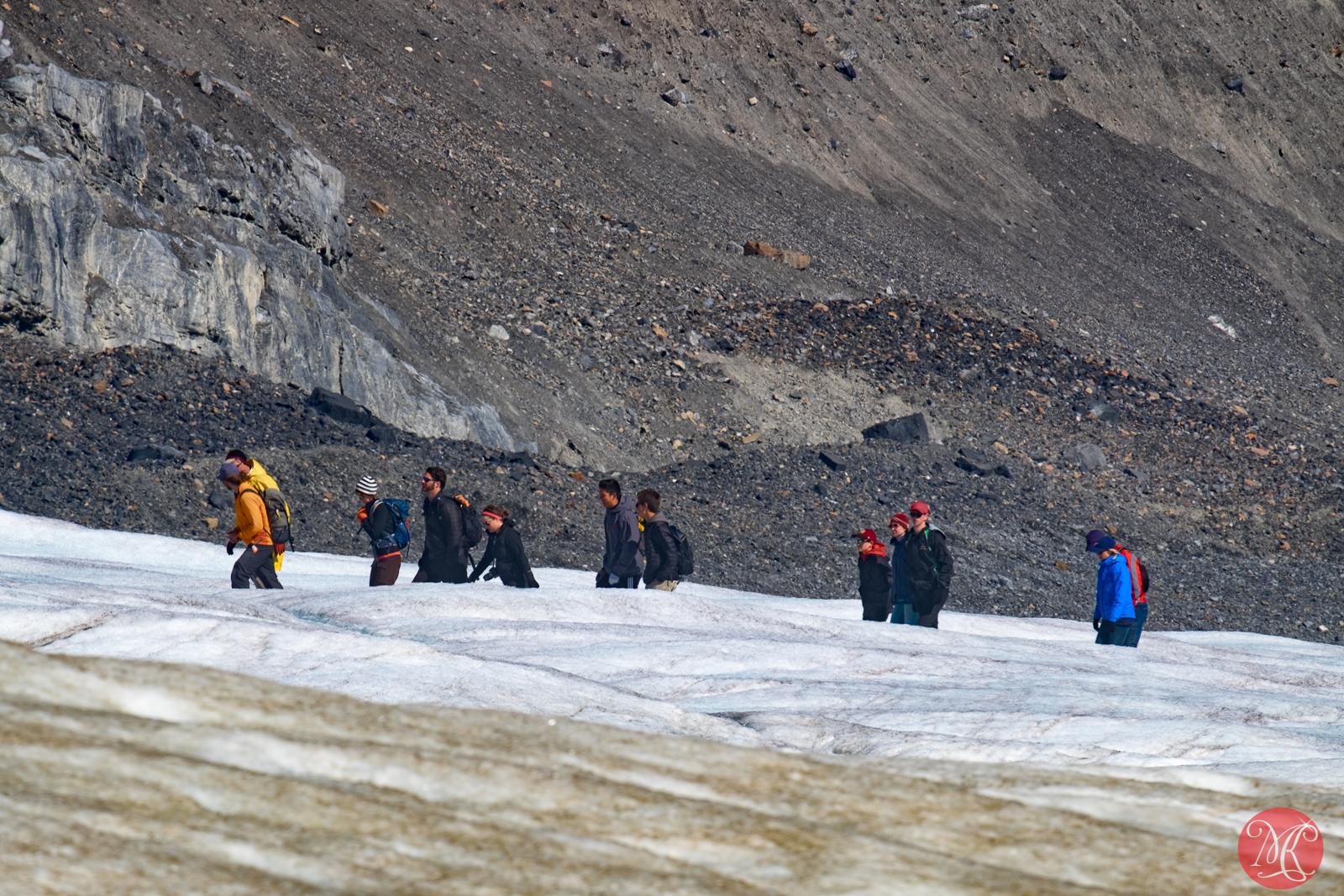 Waling up the glacier