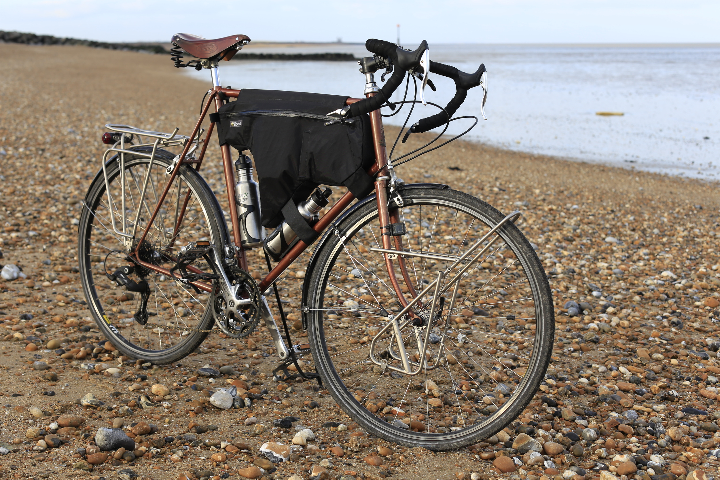 raleigh tourer, Wildcat, frame bag, beach, touring, bicycle touring, bicycle touring apocalypse, review, blog, canon 6d