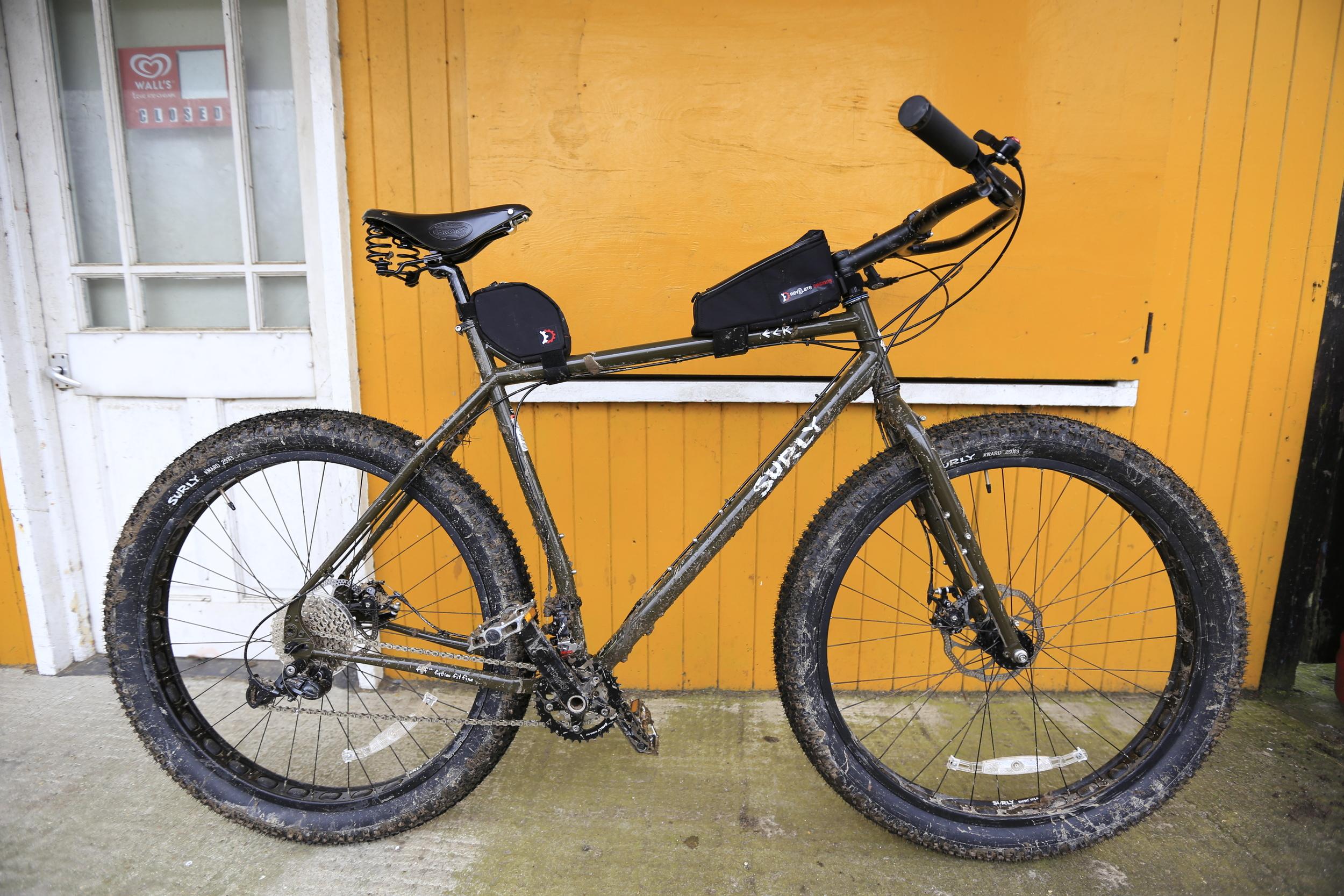 brooks flyer, brooks b17, surly, surly ecr, bicycle touring apocalypse, bicycletouringapocalypse.com, bicycle touring, cycle touring, bikepacking, fat bike, revelate designs
