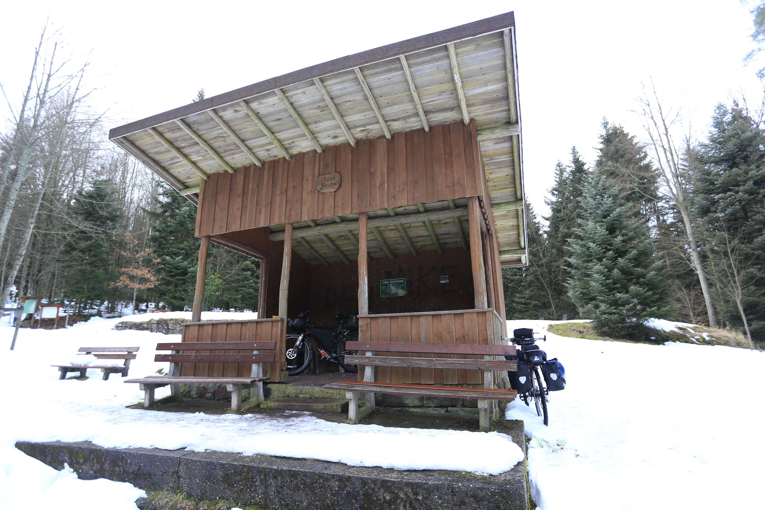 The Black forest has numerous shelters along the walking/riding routes. These huts may be basic, but they provide a valuable camping alternative in severe weather conditions.