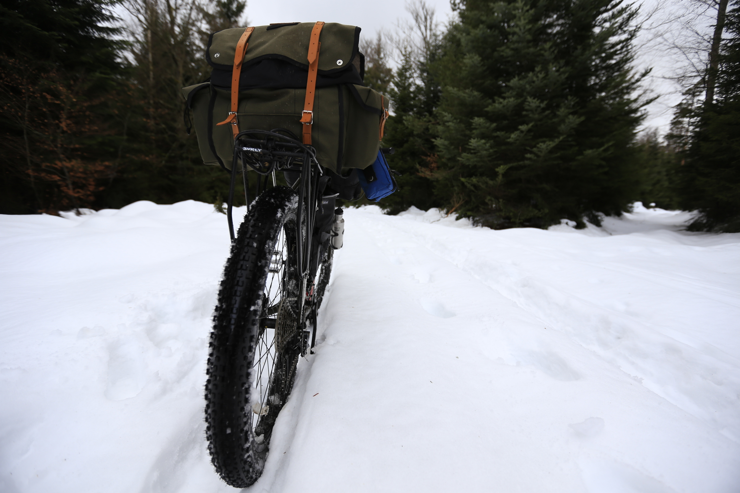 surly, surly ecr, carradice, germany, black forest, carradice longflap camper, snow, camping, bike tour, fat bike, pannier, surly nice rack