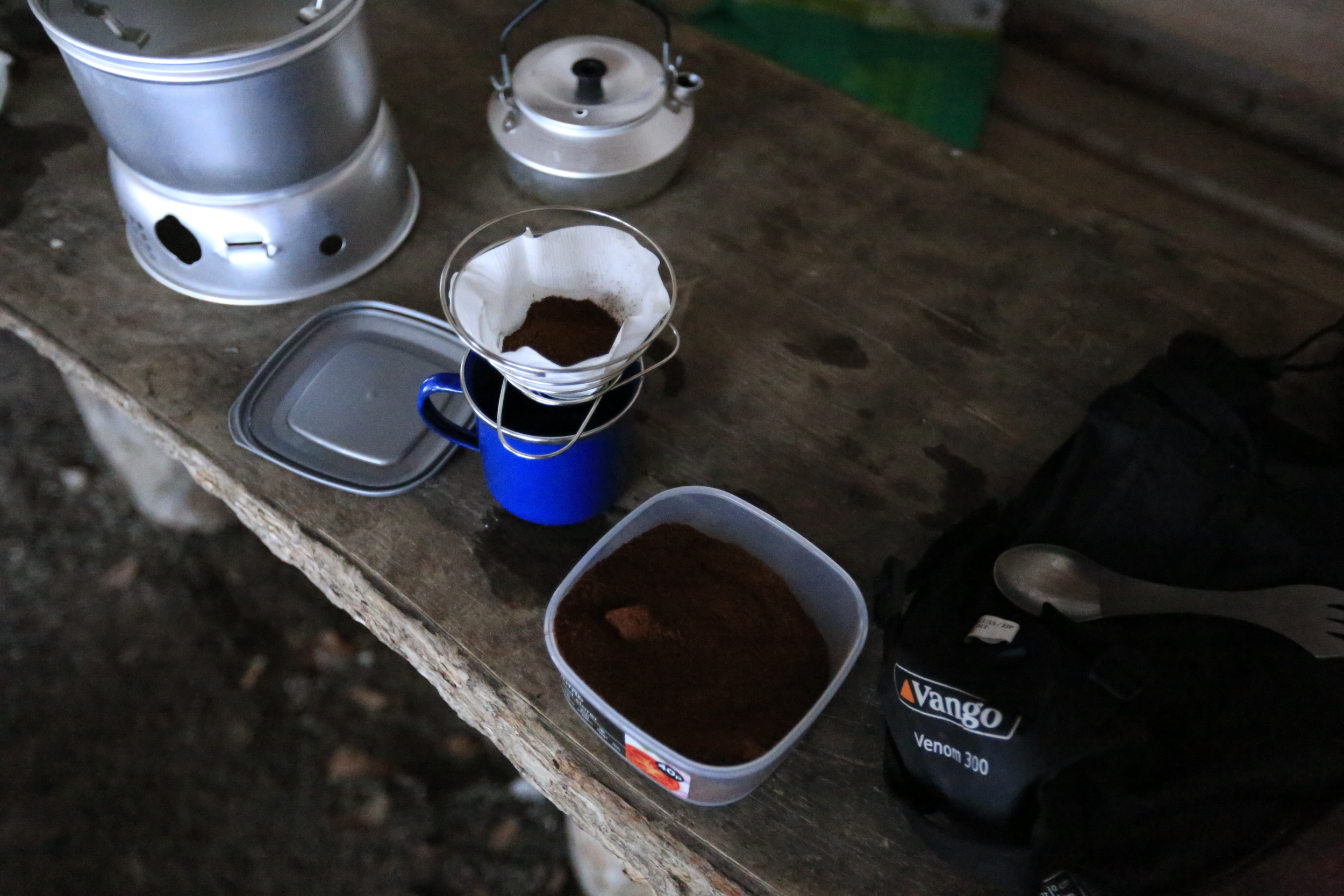 Making good use of the super compact   Soto Helix Coffee Maker  . This super lightweight cone is perfect for bicycle touring and has to be one of the best options for minimalist Bikepackers who can't live without their coffee.