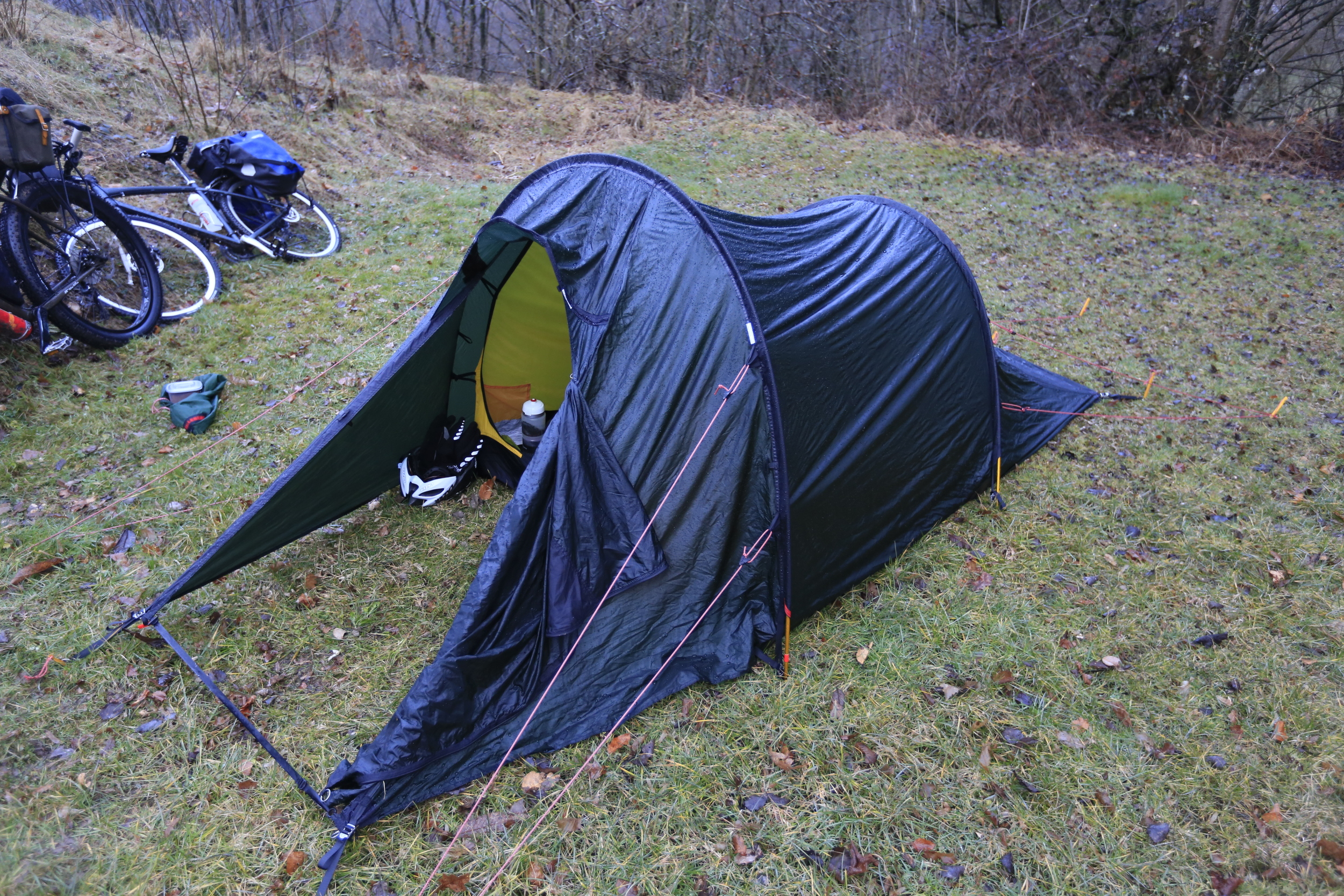 The   Hilleberg Nallo 2   took a night of torrential rain in its stride.