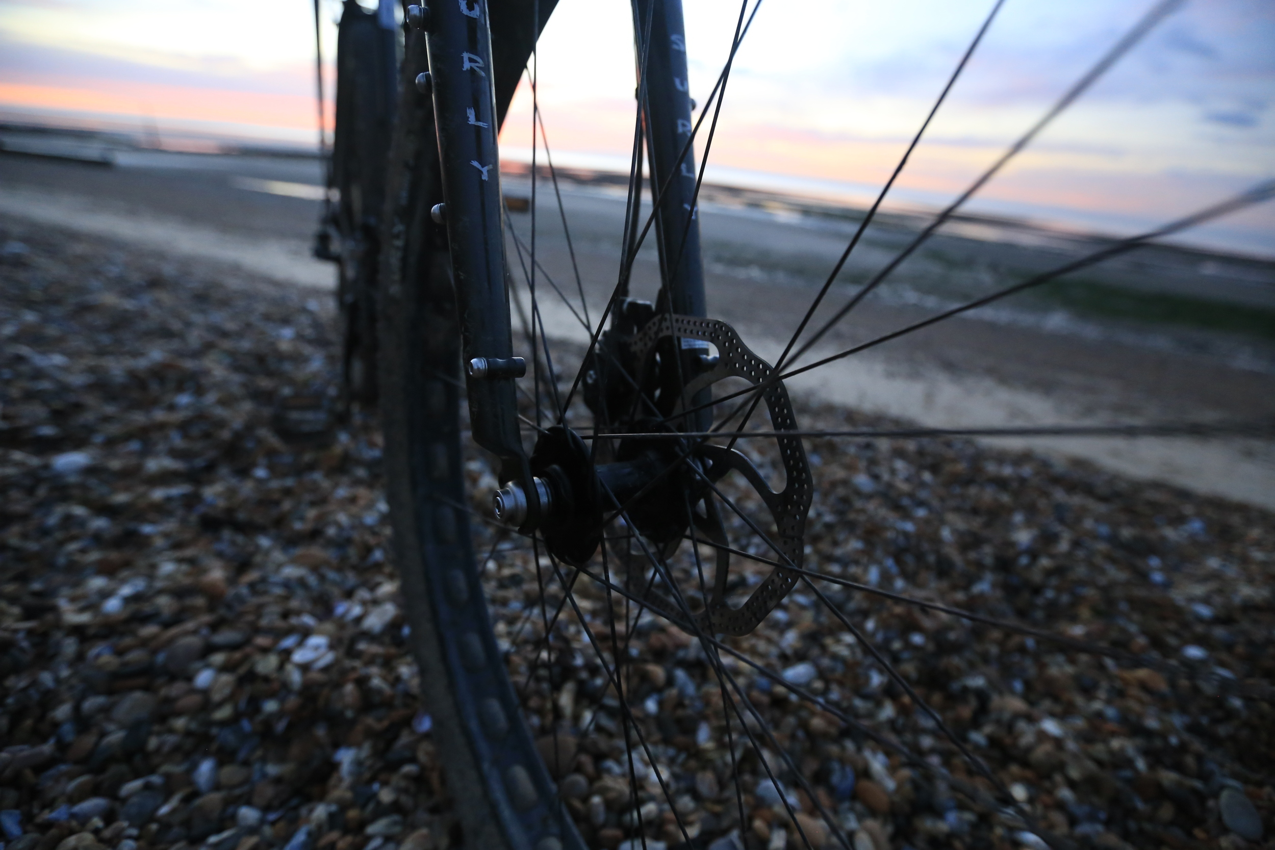 disc brakes, ecr, surly ecr, rabbit hole rims, bicycle touring apocalypse, knards, beach, cycling blog, bicycle, bikepacking blog, bikepacking