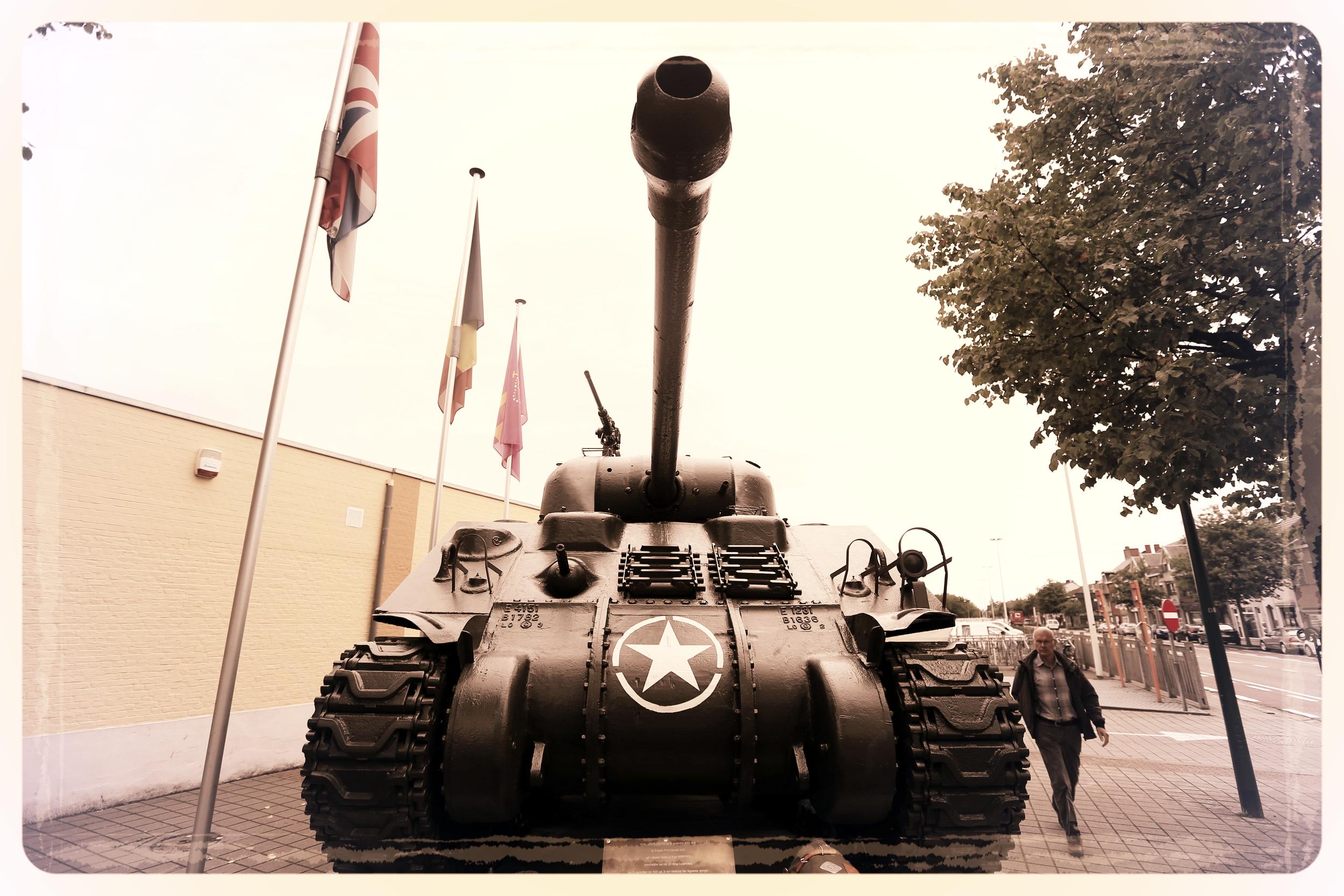 tank, wwII tank, wwii tank, military vehicle, army, army tank, belgium, bastogne, bastogne war museum, bikepacking blog, bicycle touring apocalypse, explore, travel photography, photography blog, raleigh bicycle, carradice, carradice longflap camper