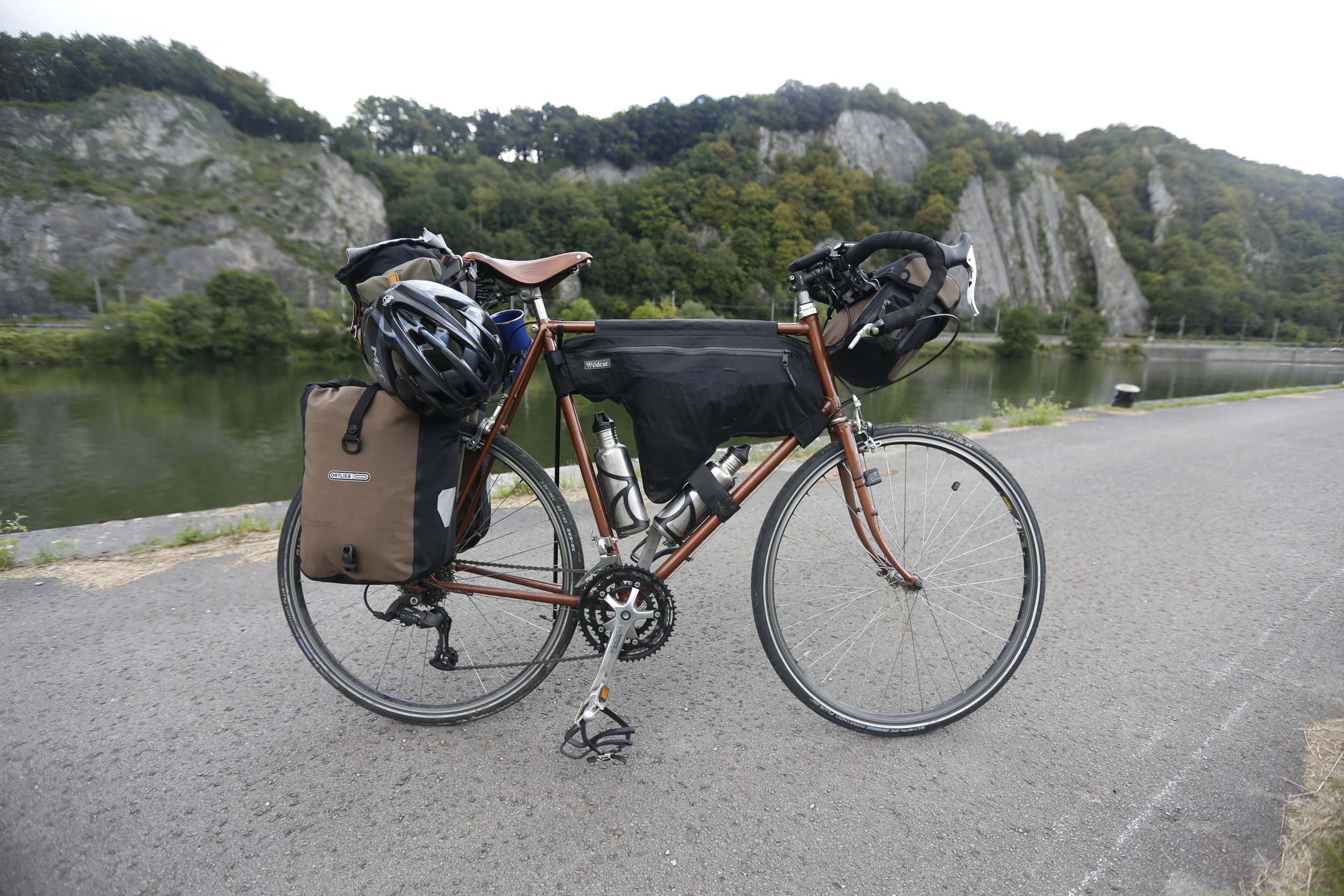 A closer look at my touring a rig, a 1970's completely custom Raleigh Magnum. I'm gradually converting to a full bikepacking set-up.