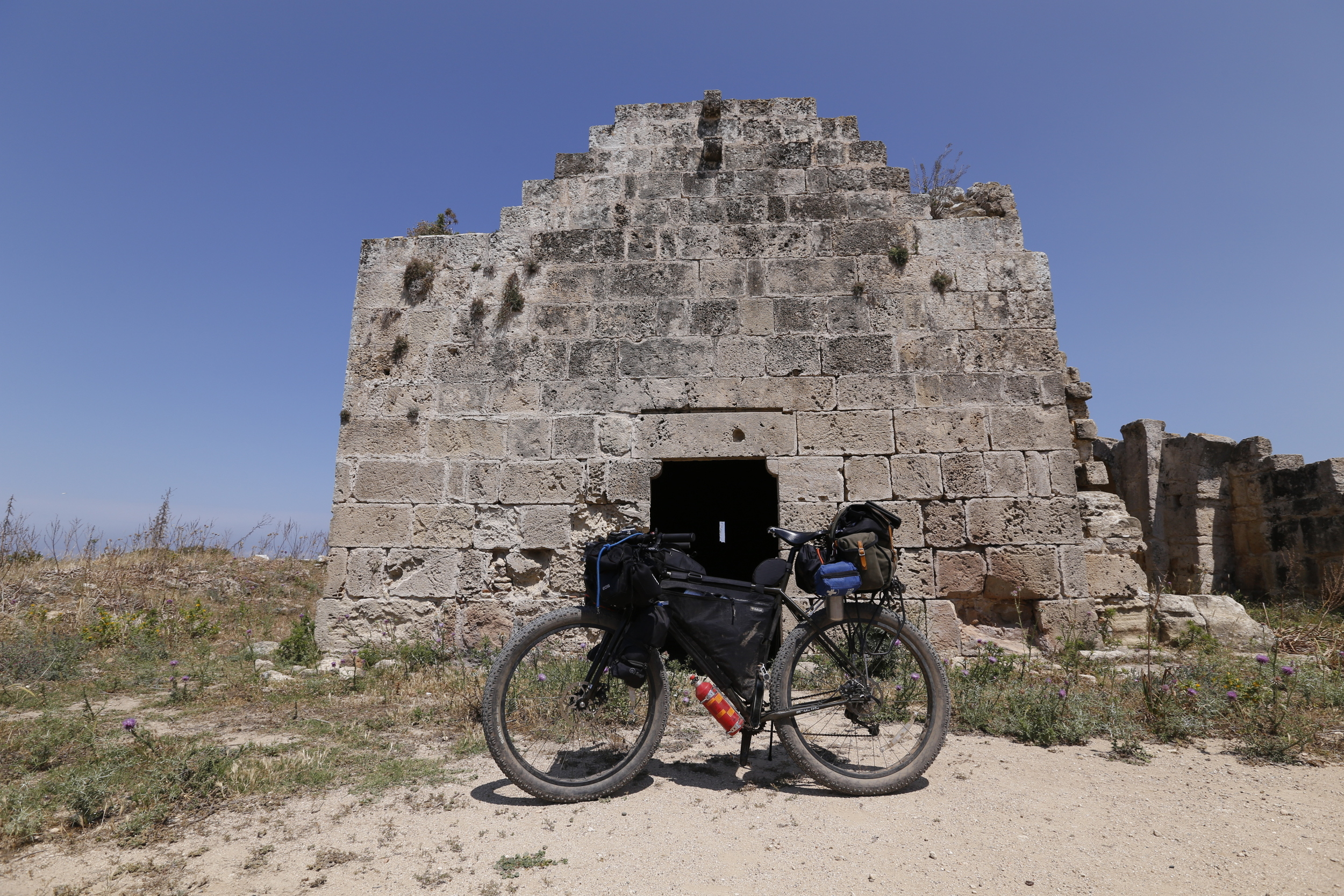 north cyprus, kyrenia mountains, go north cyprus, bicycle touring apocalypse, surly, surly ecr, bicycle touring, cycling, jack macgowan, apocaloon, adventure, wildcat gear, revelate designs, brooks saddle, trangia, knards, fat bike, kyrenia mountain trail, canon, canon 6d, canon photography, bikepacking blog, bikepacker, cyclist, surly, surly ecr, church, ruins, castle, history, steel frame