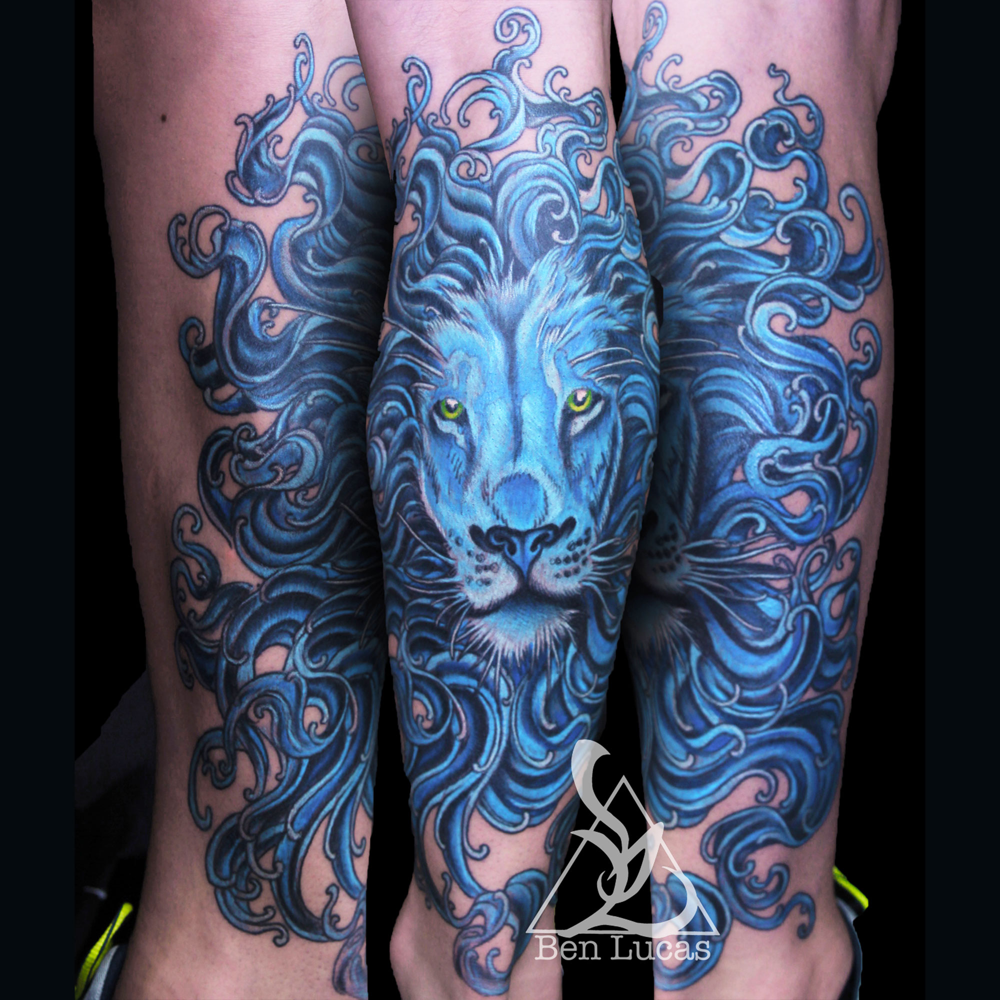 blue lion leo tattoo ideas for men women