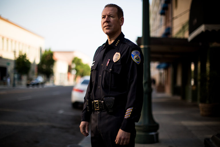 Eric Jones, chief of the Stockton, Calif., police department. Credit Max Whittaker for The New York Times