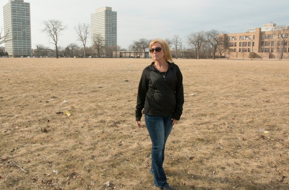 Shannon Spalding at the site of the former Ida B. Wells Homes on March 3, 2016. Photo: Patricia Evans