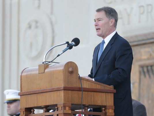 Indianapolis Mayor Joe Hogsett speaks during the Veterans Day Service, held at the Indiana War Memorial on Friday, Nov. 11, 2016.(Photo: Michelle Pemberton / IndyStar)