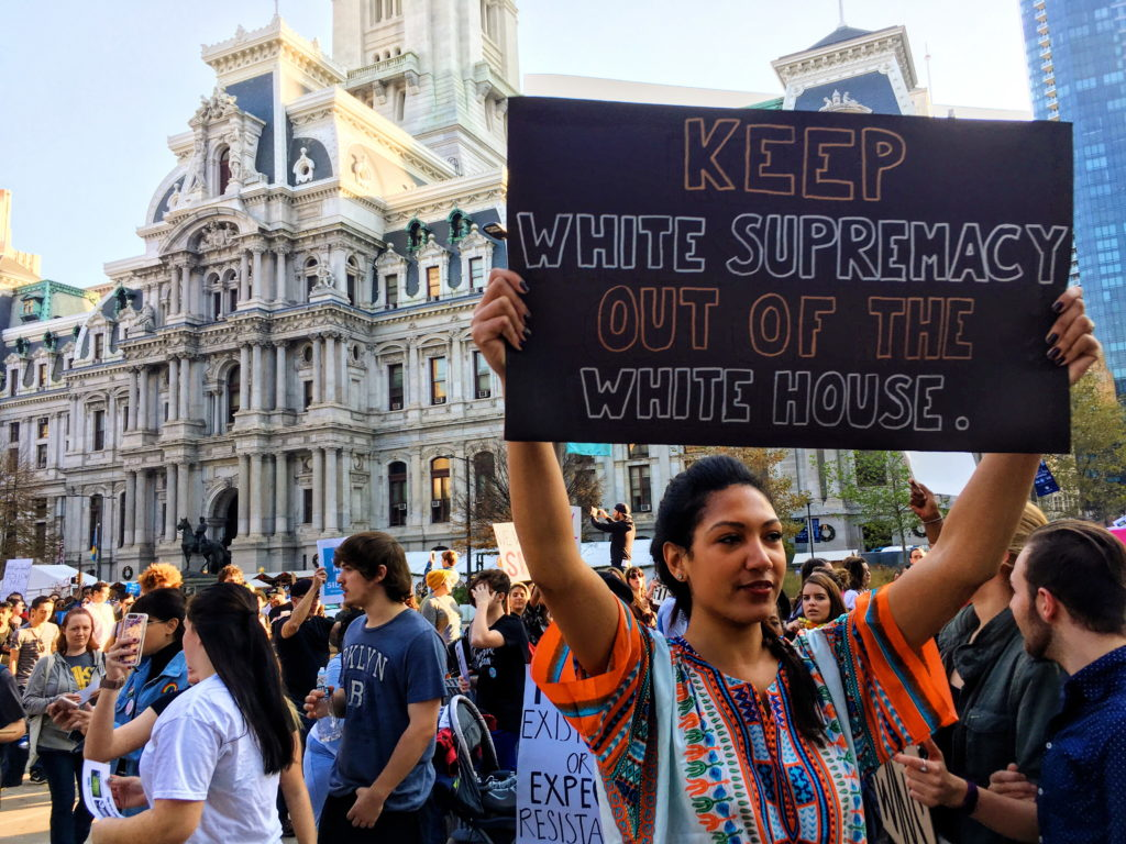 A woman protests during a demonstration in November in Philadelphia. (Credit: Alexa Smith)