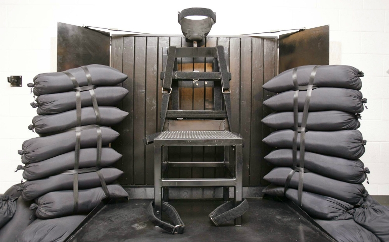 The execution chamber at the state prison in Draper, Utah, is seen after Ronnie Lee Gardner was executed by a firing squad in this June 18, 2010, file photo. (CNS photo/Trent Nelson-Salt Lake Tribune pool via Reuters)