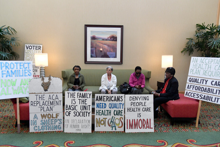 John Leyba, The Denver Post  Left to right, Ruth Shepard, Winifred Johnson, Rev. Naomi Harris, and Rev. Margaret McCaskill sit as they wait for the press conference to start at the Shorter Community AME Church on March 15, 2017 in Denver at the Renaissance Hotel.