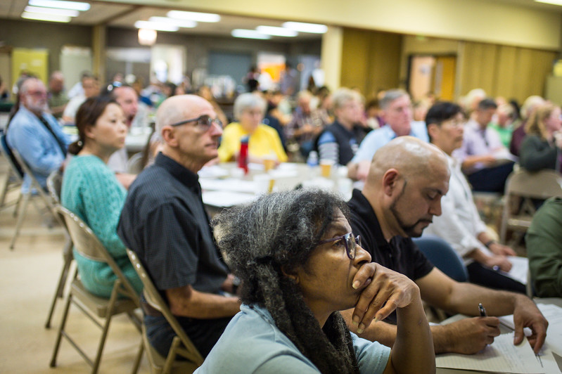 Social Justice Minister Lucia Chappelle and Rev. Alejandro Escoto attend Clergy and Laity United for Economic Justice's Raids Rapid Response Network training at The Bridge at Union Church in Los Angeles on March 3, 2017. Those attending were learning how to respond to immigration raids. (Photo by Sarah Reingewirtz, Pasadena Star-News/SCNG)