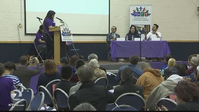 The housing crunch in Silicon Valley brought dozens of renters together on Thursday night. They packed a church gymnasium to call for stronger protections against landlords.