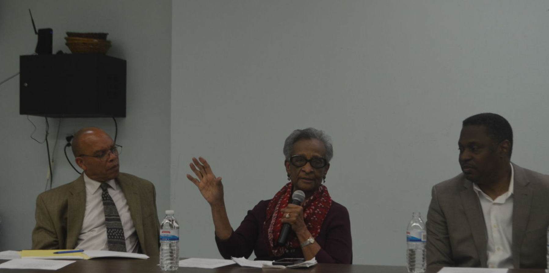 """The Rev. Ralph Blanks, a minister at Vine Memorial Baptist Church; Bishop Audrey Brunson, pastor of Church of the Open Door; and the Rev. Gregory Holston, pastor of New Vision United Methodist Church and the executive director of POWER (Philadelphians Organized to Witness, Empower and Rebuild); served as panelists at a discussion on """"The Role of the Black Church in the Trump Era."""" - TRIBUNE PHOTO BY SAMARIA BAILEY"""