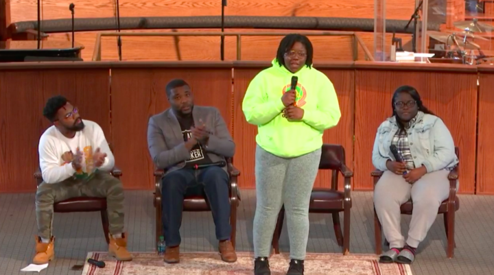 LIVE FREE. Shatony Rivers, 18, a Miami high school senior, speaks at the Atlanta event.