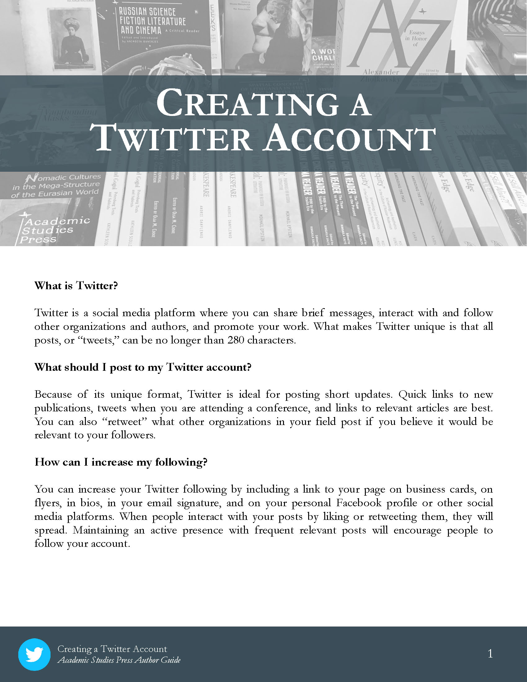 Author Guide: Creating a Twitter Account