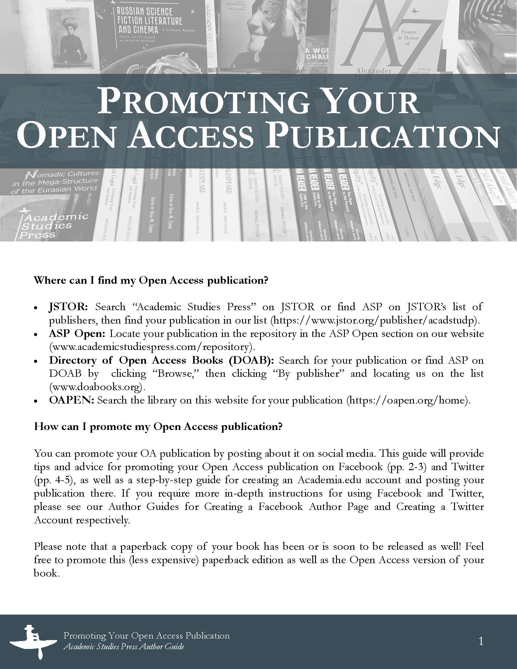 Author Guide: Promoting Your Open Access Publication