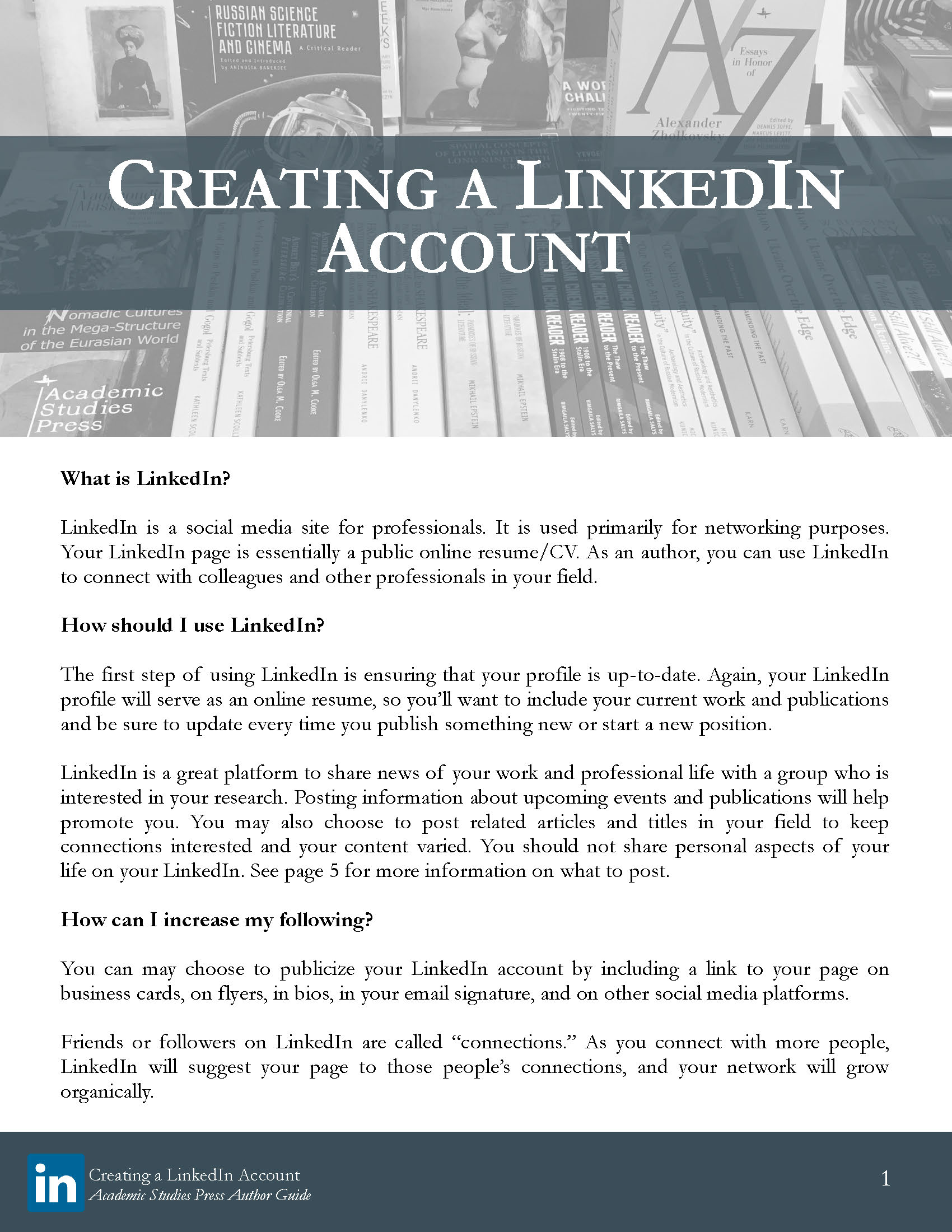 Author Guide: Creating a LinkedIn Account