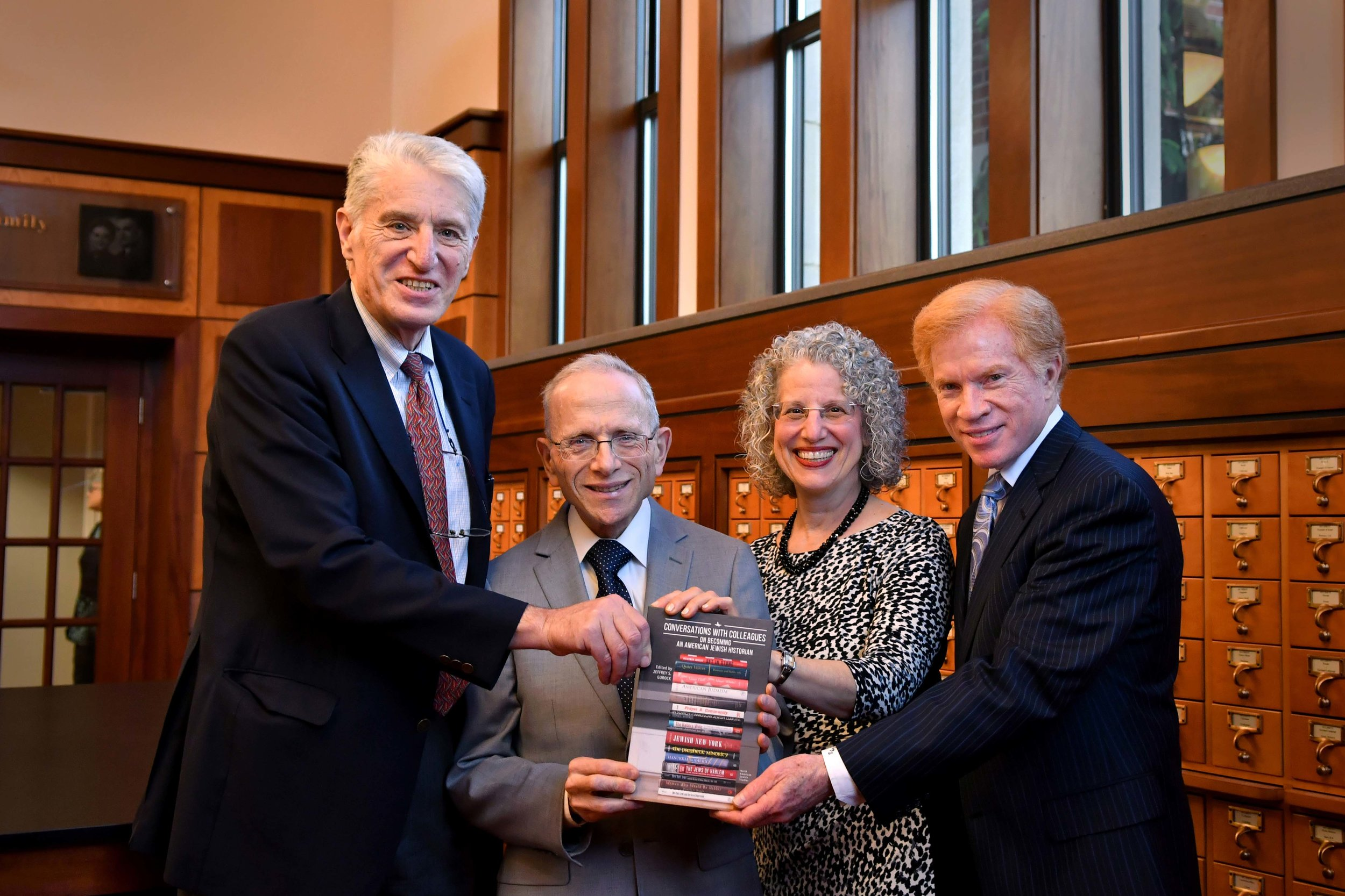 Jeffrey Gurock, Jonathan D. Sarna, Shuly Rubin Schwartz, and Gary P. Zola at the book launch for  Conversations with Colleagues , Jacob Rader Marcus Center of the American Jewish Archives, May 15, 2018