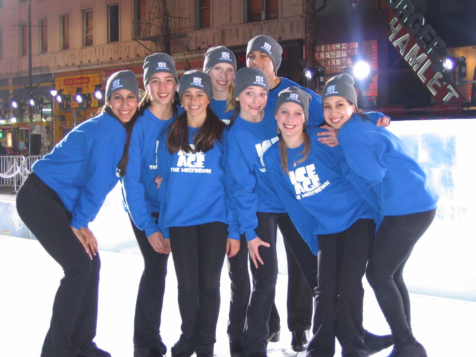 Los Angeles Ice Theater members (left to right) - Melanie Sarhabani, Hayley Soohoo, Krystal Davis, Jessica Perino, Nichole Huenergardt, Brent Mercado, Katie Karp and Renee Valesquez.