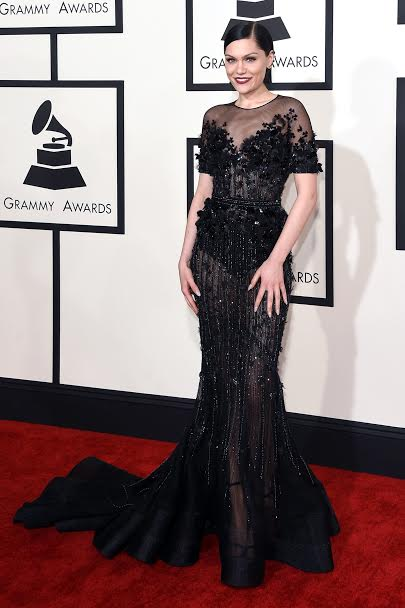 British singer and award winner, Jessie J looked sensational in Ralph & Russo Coutureat the 57thGrammy Awards.