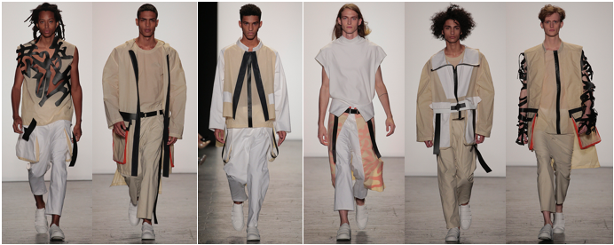 Melissa Kheng , MFA Fashion Design, was born and raised in Singapore. Her thesis menswear collection is inspired by the unabashed masculinity of the Japanese subculture Bosozoku, and utilitarian elements of traditional fishermen. Both concepts are similar in being part of a group that gave life meaning and solidarity with others. Waxed cotton coats and jackets, oversized pocket pants, layered panels, and laser cut graphic pieces are combined with classic street wear shapes.