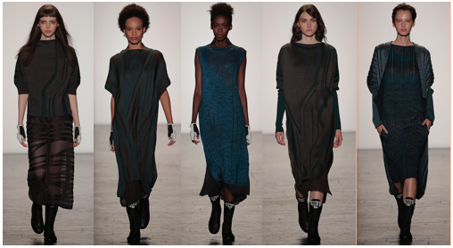 """Natalya Sheveleva Robinson , BFA Knitwear Design, was born in Izhevsk, Russia. Her inspiration for her thesis collection evolved from Arnold Schoenberg's musical theory """"Emancipation of Dissonance"""" as well as Art Deco architecture. She challenged herself to express synergy of the opposites such as warm and cold colors, and strong geometric lines with fluid drapes. As a knitwear designer, she manipulated every stitch to show this graphic composition incorporating the idea of a textile print into knitwear."""
