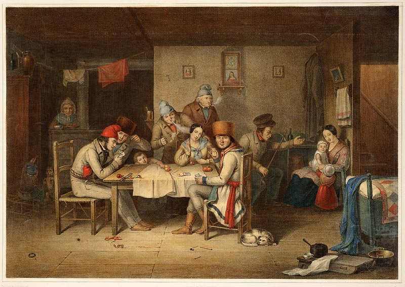 French Canadians Playing at Cards,  Lithograph, Cornelius Krieghoff, !848, Collection of the National Gallery of Canada
