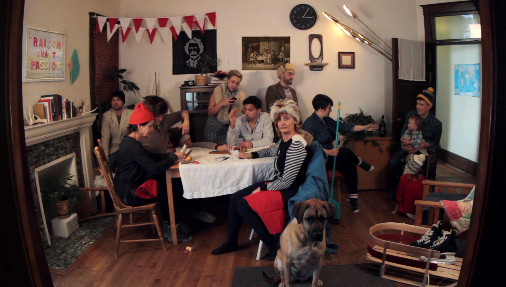 French Canadian Habitants Playing at Cards after Cornelius Krieghoff (1848),  HD Video still, Jacquelyn Hébert, 2014