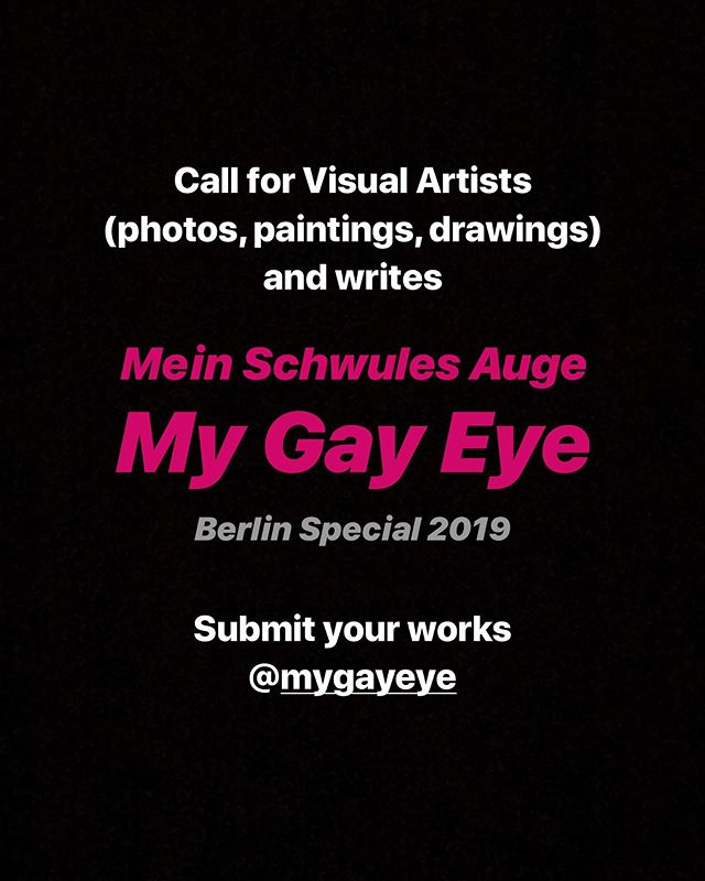 Yearbook of gay eroticism @mygayeye . Works from more than 100 artists and writes each year. Berlin special will include works of Wolfgang Tillmans, Slava Mogutin, Henning von Berg, Eva&Adele, cover image @cpgn.photography among others. Book presentation at Frankfurt book fair and exhibition in Berlin in October. Submit your works now! Deadline June 30th 🏳️‍🌈 #instagay #gaybook #gayberlin #mygayeye #gayart #gayartist