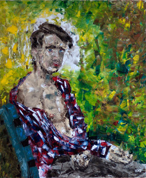 Guy on bench (2013) oil on canvas, 60x50