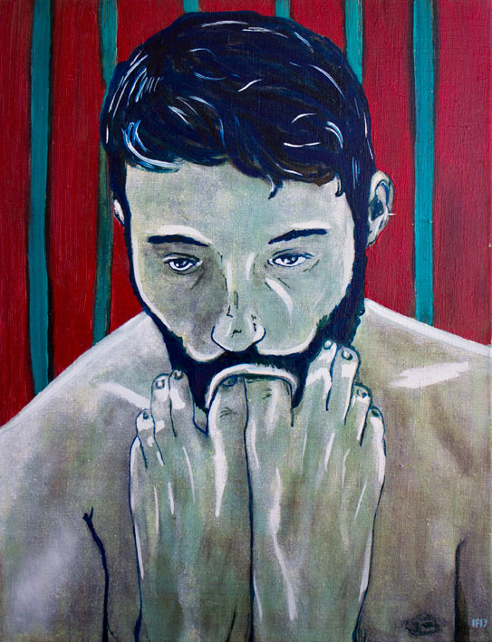 Guy with feet (2013) oil on canvas, 65x50