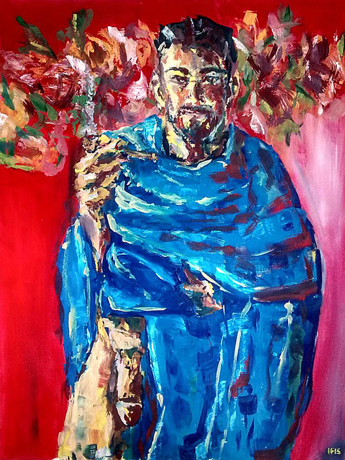 Jewish gay smoking weed (2015) oil on canvas, 60x45
