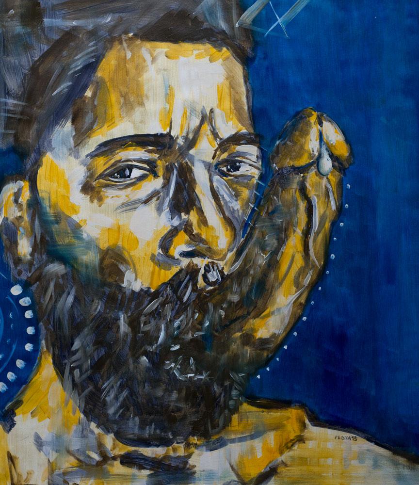Kiss Me Hard (2015) oil on canvas, 60x55