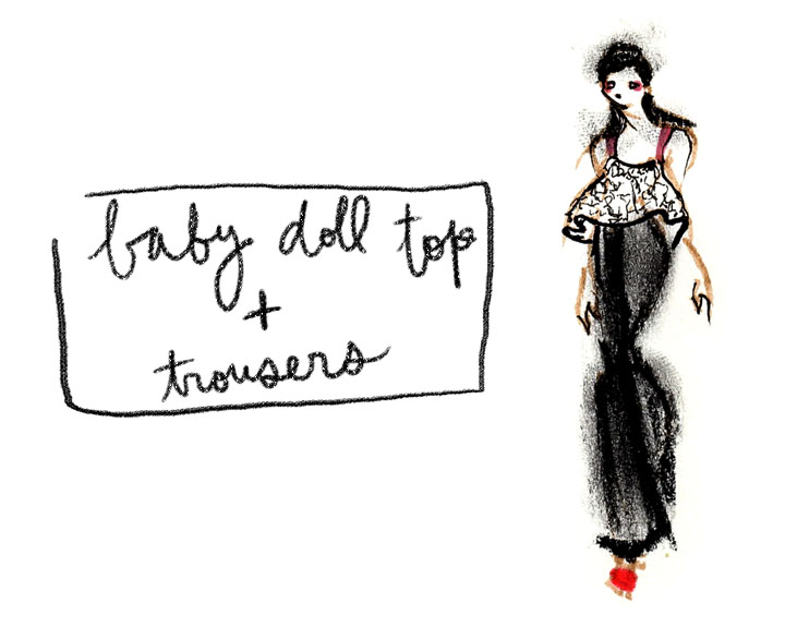 lisa perry baby doll top and trousers
