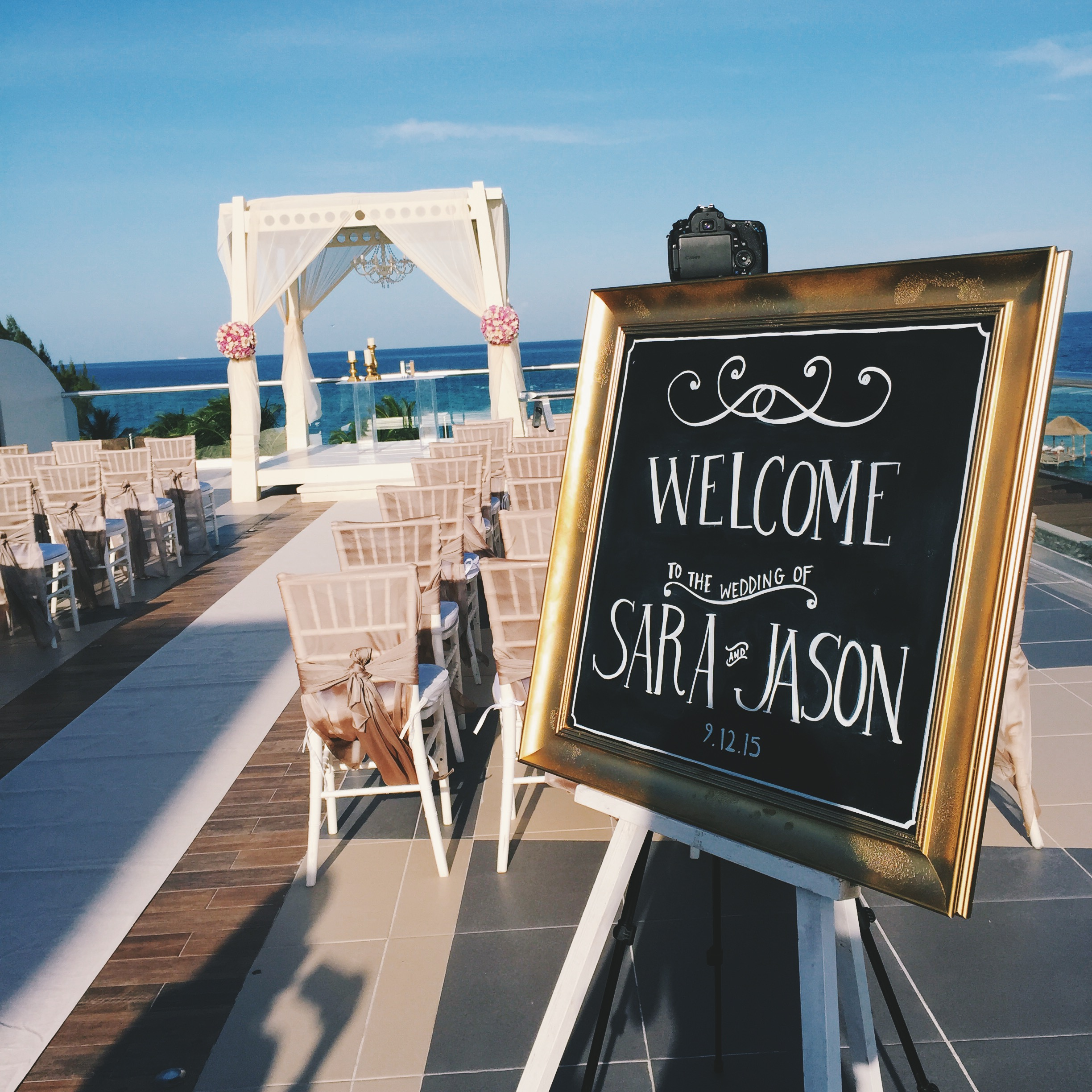 The sign I created for the newlyweds!